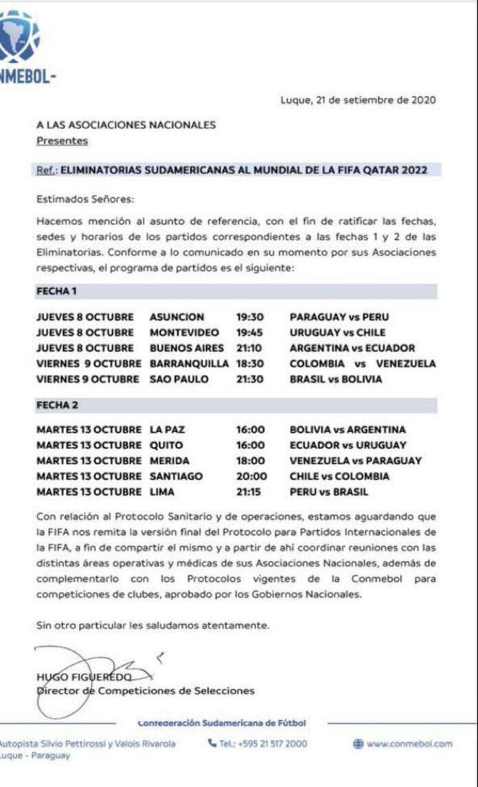 Conmebol confirma data, horário e local de início das Eliminatórias; confira a tabela atualizada